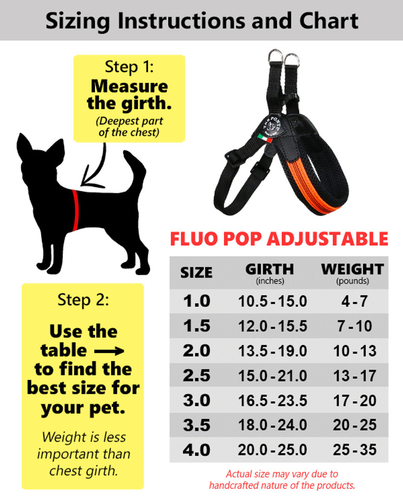 Tre Ponti Fluo Pop ADJUSTABLE Harness and/or Leash