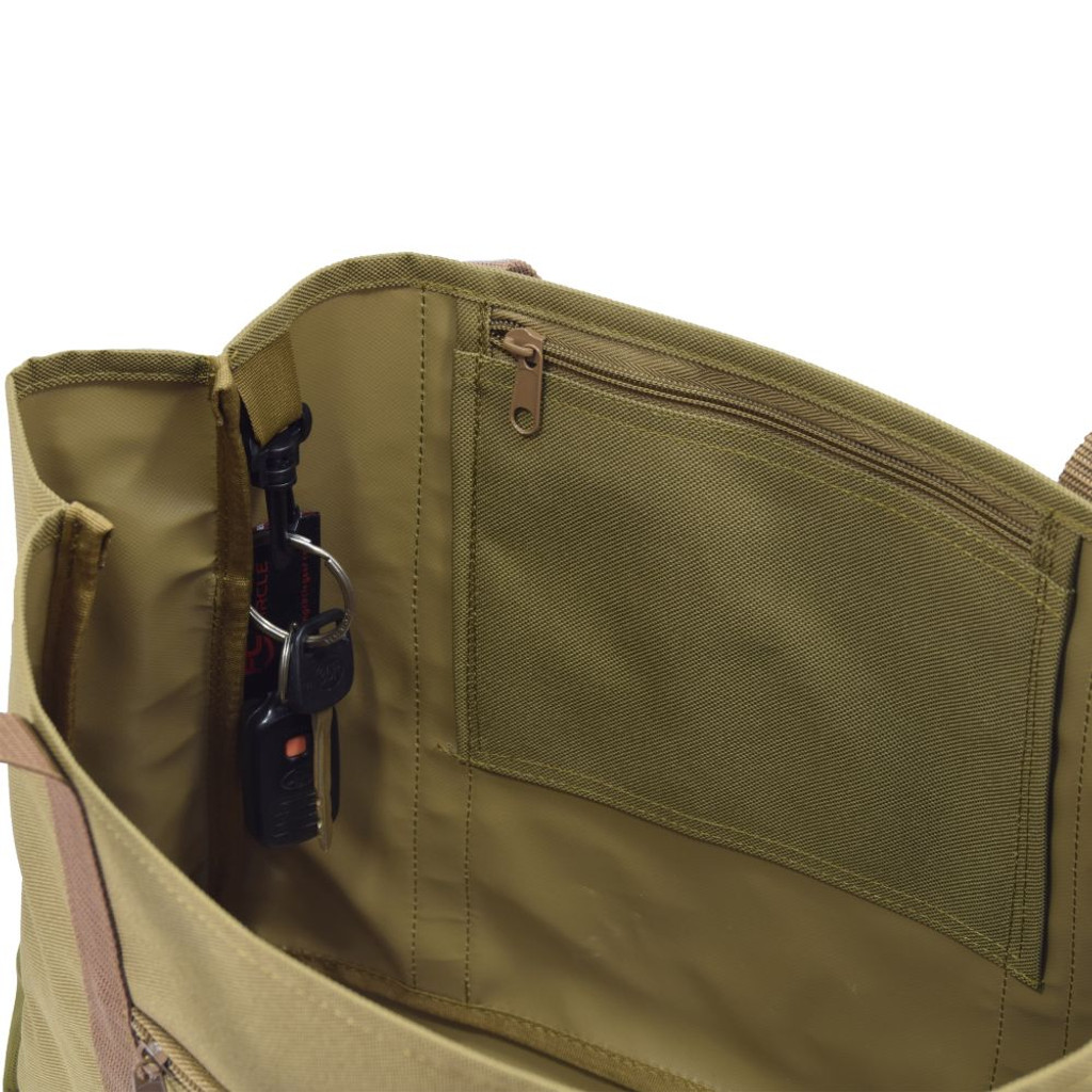 Interior zippered pocket to keep track of smaller items & key clip