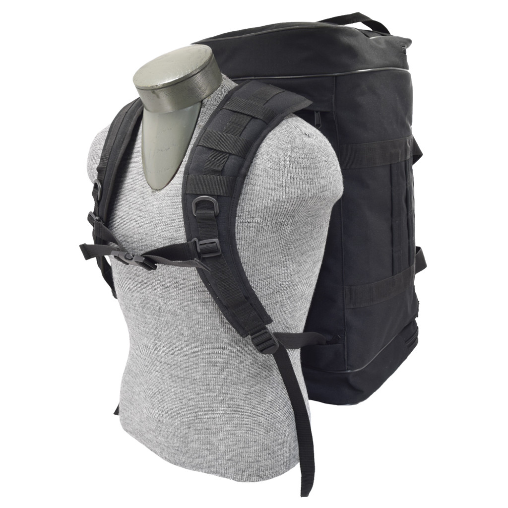 Easily transforms from a duffel to a backpack with stow-away straps stored in bottom pocket