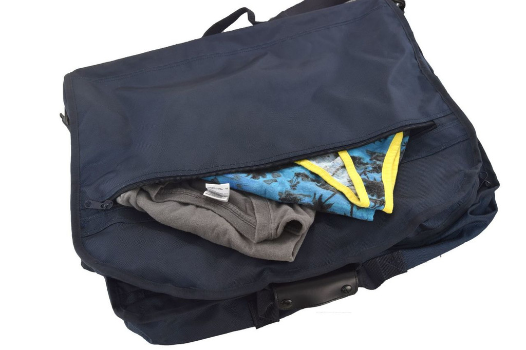 Two large zippered pockets for shoes, toiletries, or smaller clothing items