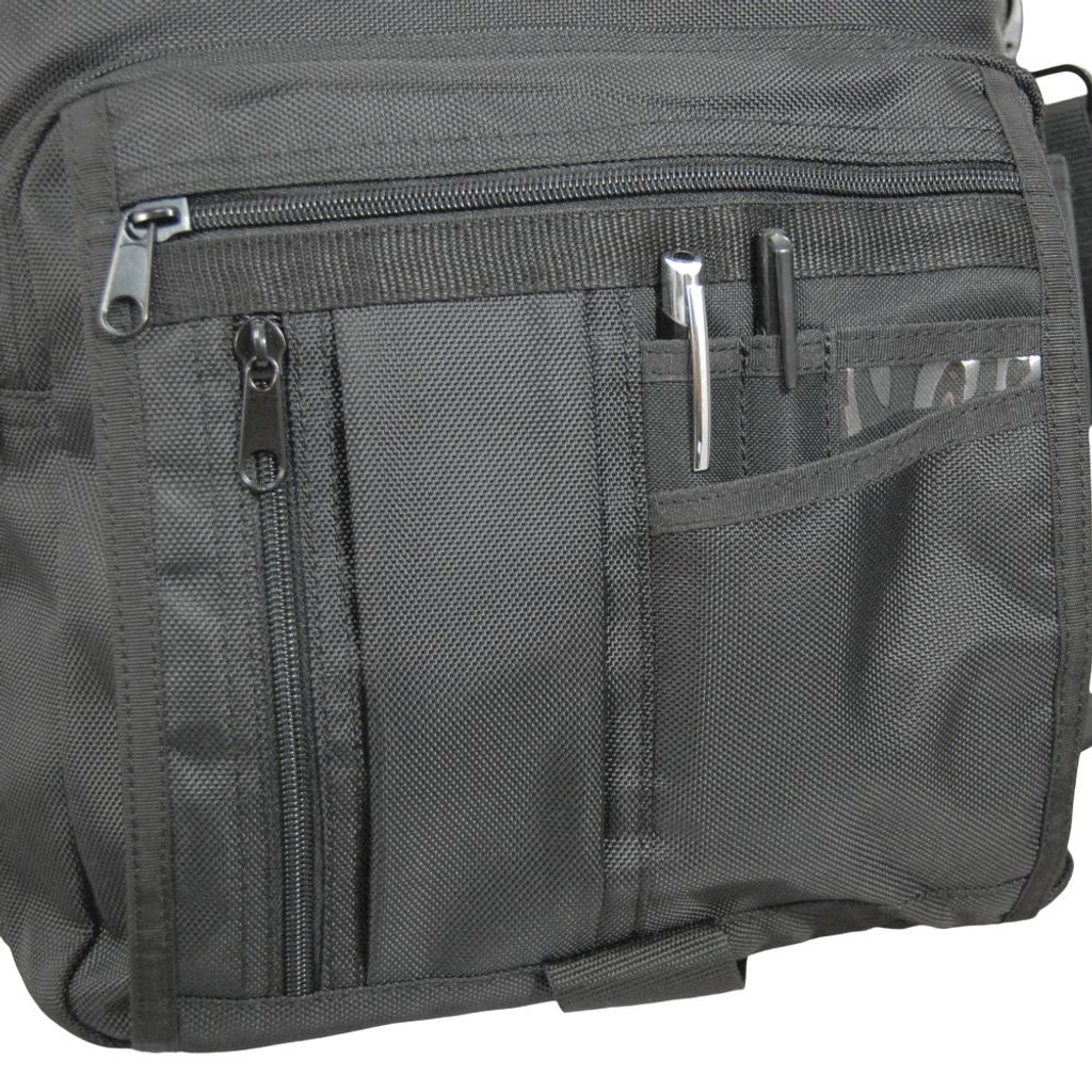 Front section has 2 small zippered pockets, several slip-in pockets, & a large zippered pocket for a small notepad, electronics, power cords, etc.