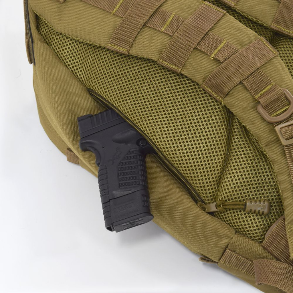 Two hidden backside pockets with zippers on both sides can be used as secure concealed carry compartments and for everyday carry essentials like wallet, keys, and knives