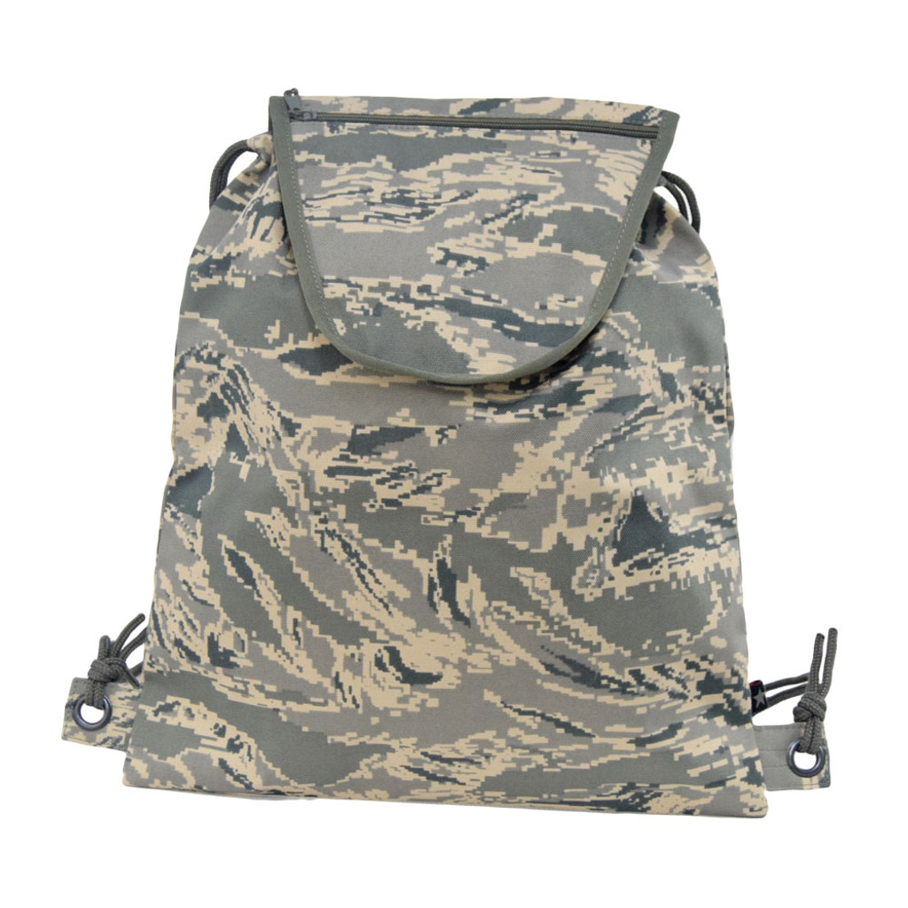 Drawstring Backpack with small zippered pocket on the flap for all your smaller items