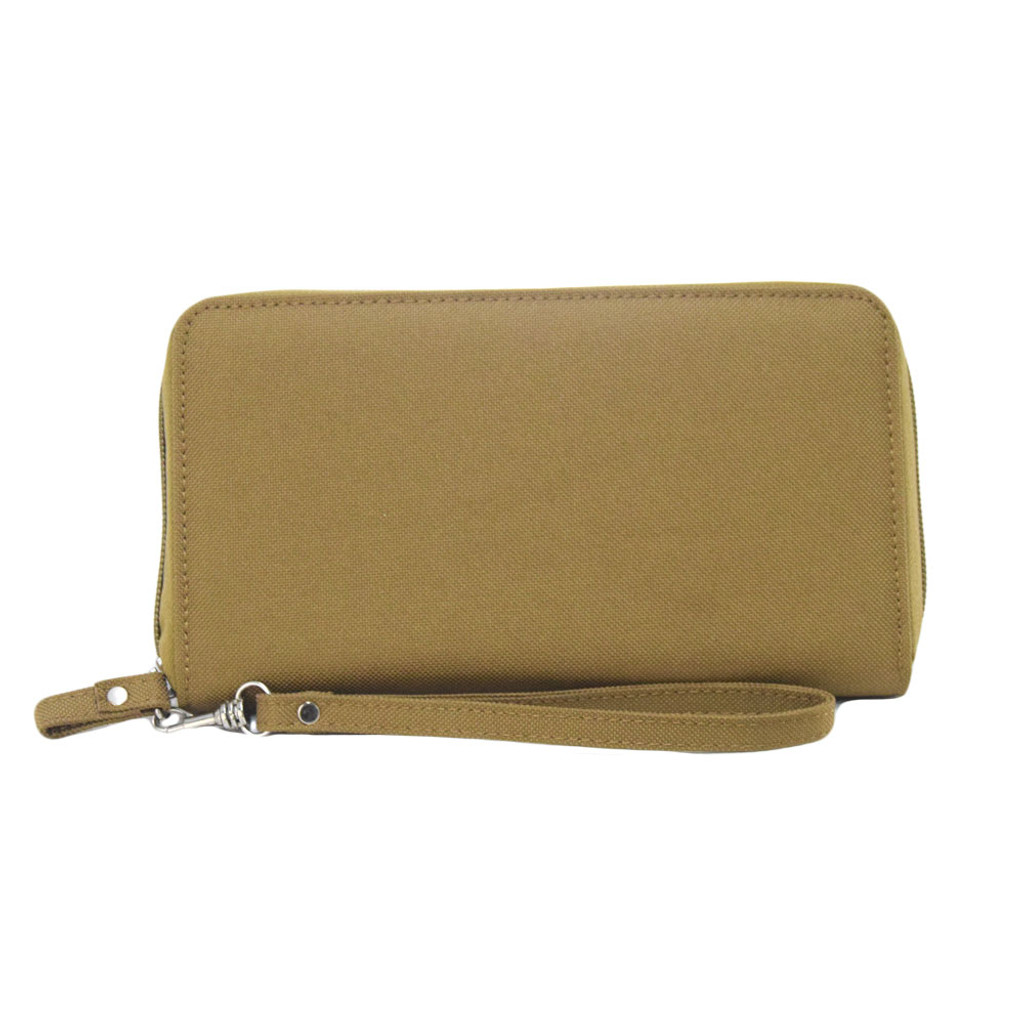 This wrist wallet fits most mobile phones, has a full length bill compartment / slip-in pocket,  8 interior card slots, and a removable wrist strap