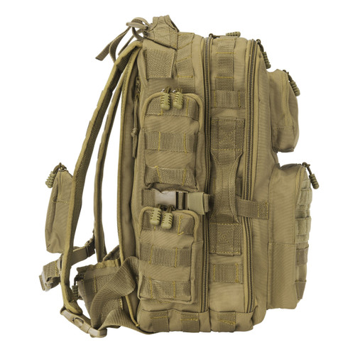 Features MOLLE webbing on front, sides, top, bottom, backpack straps, belt, and inside center pocket to clip on extras and add pouches