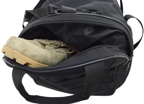 Two large external end pockets. One can be used as a boot bag or dirty laundry compartment; the other mesh pocket is designed to store damp items or tennis shoes