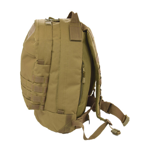 Expanded storage capability with PALS / MOLLE webbing on front, sides, and backpack straps to attach MOLLE compatible pouches and gear