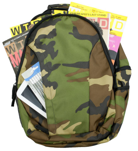 Full length vertical zipper front pocket