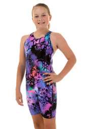 Girls Knee Length Ink One Piece Chlorine Resistant Swimsuit