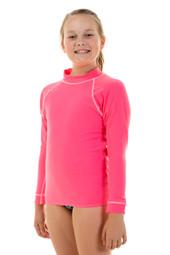Unisex Kids Long Sleeve Pink Chlorine Resistant Wetshirt