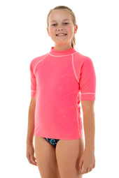 Unisex Kids Short Sleeve Pink Chlorine Resistant Wetshirt