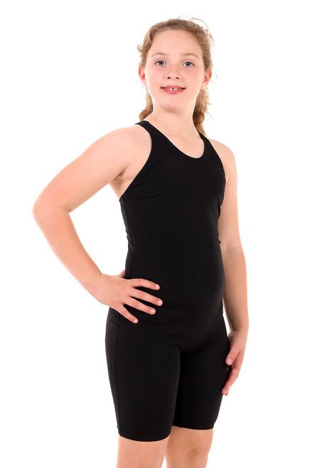 Girls Knee Length Black One Piece Chlorine Resistant Swimsuit