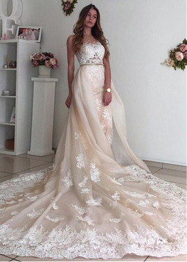 Jewel Neckline 2 In 1 Wedding Dress With Detachable Skirt
