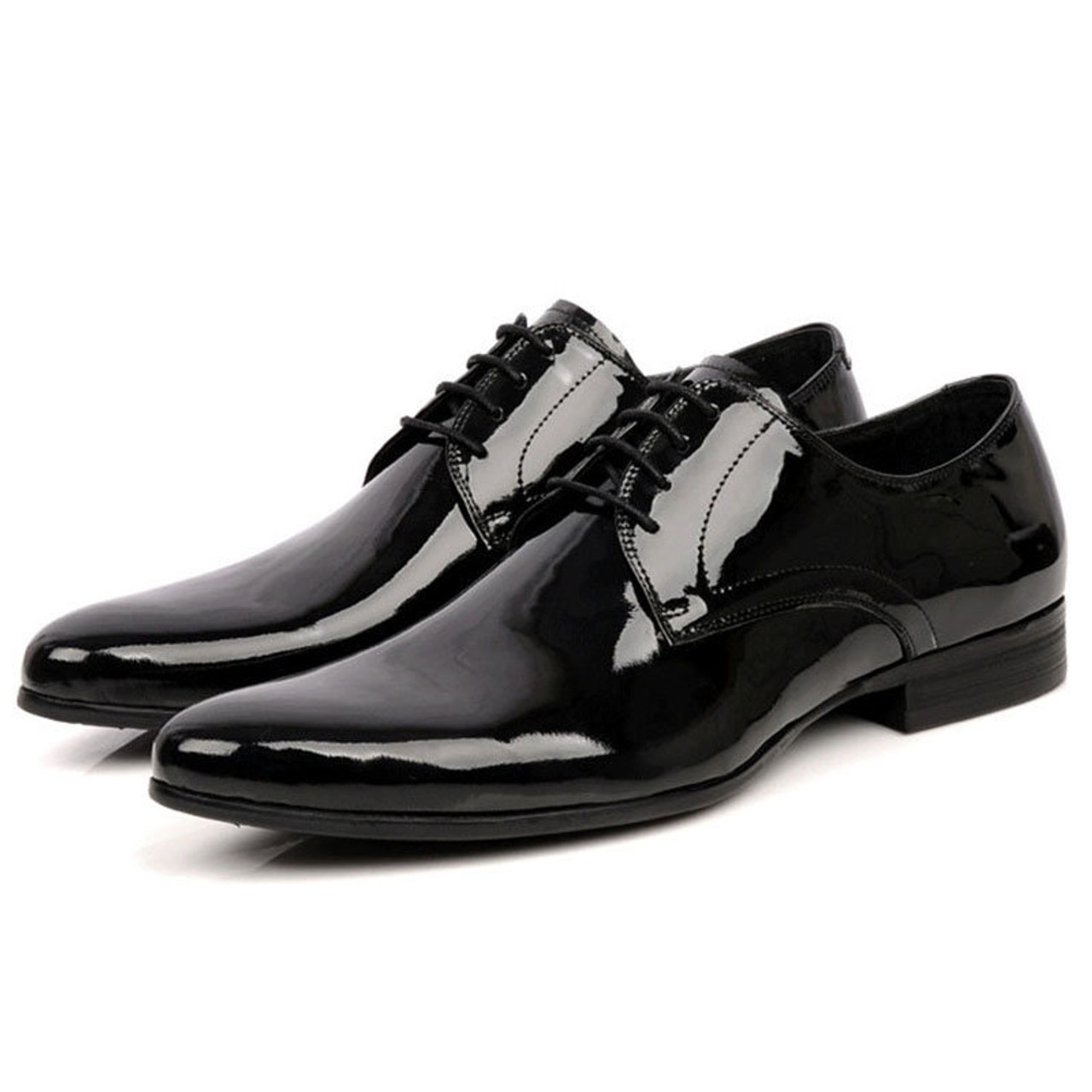 Mens Black Patent Leather Shoes Mens Tuxedo Shoes For Wedding