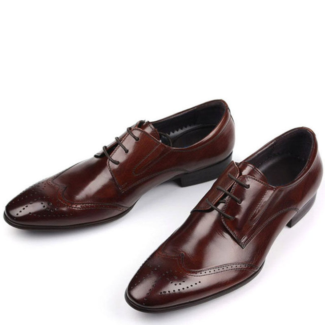 White And Purple Mens Dress Shoes