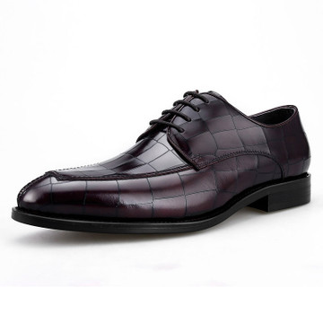 Mens Fashion Woven Leather Derby Dress Shoes For Business Grimentin