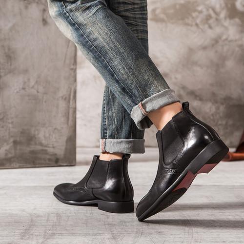 Mens Casual Vintage Black Leather Ankle Dress Chelsea Boots Grimentin
