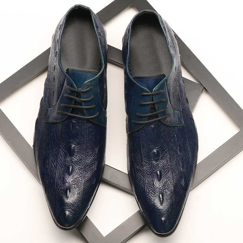 Mens blue leather shoes