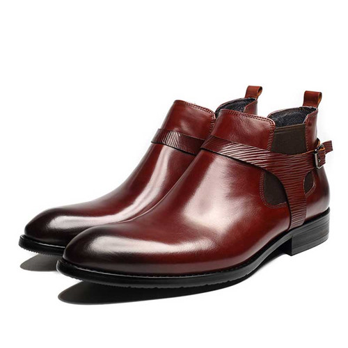 Burgundy chelsea boots mens