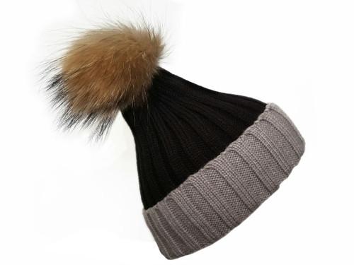 99556cbb36a Black and Grey Real Wool   fur Bobble Hat