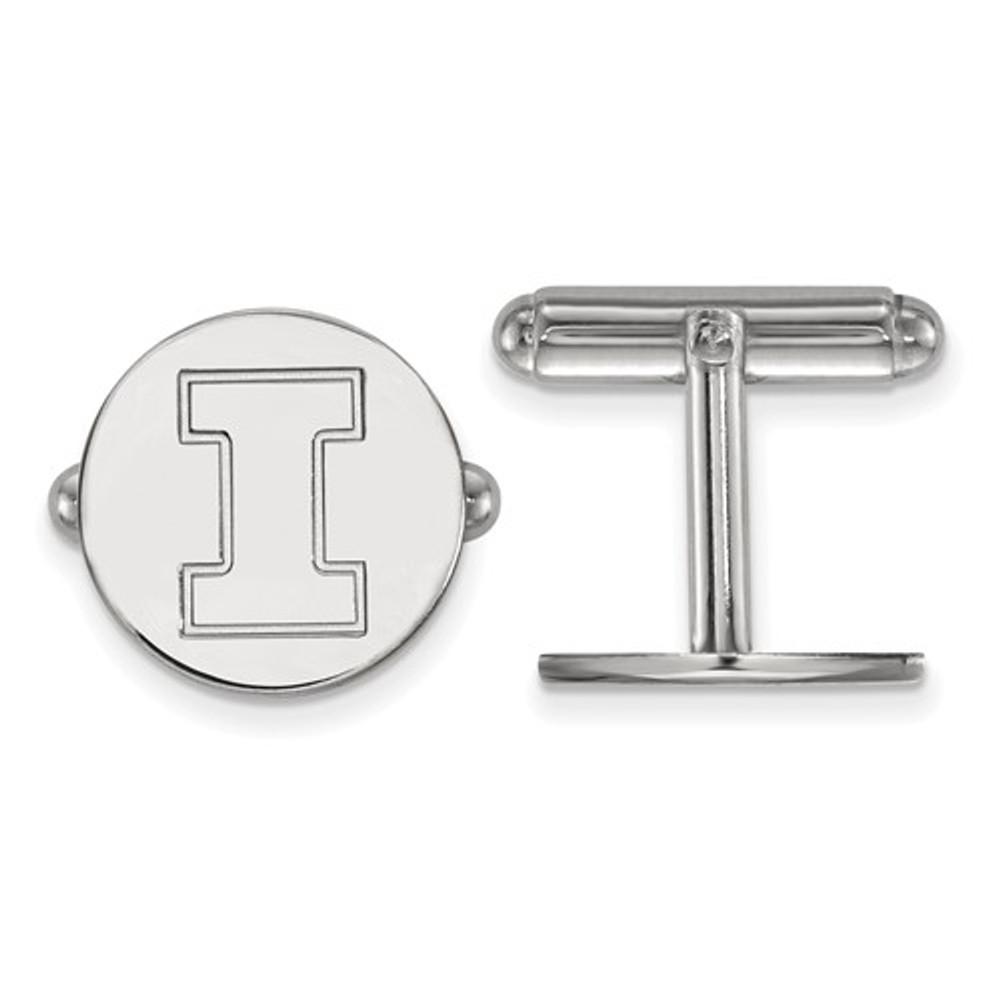 Illinois Fighting Illini Sterling Silver Cufflinks | Logo Art | SS012UIL