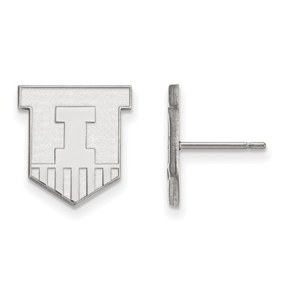 Illinois Fighting Illini Sheild Silver Post Earrings | Logo Art | SS050UIL