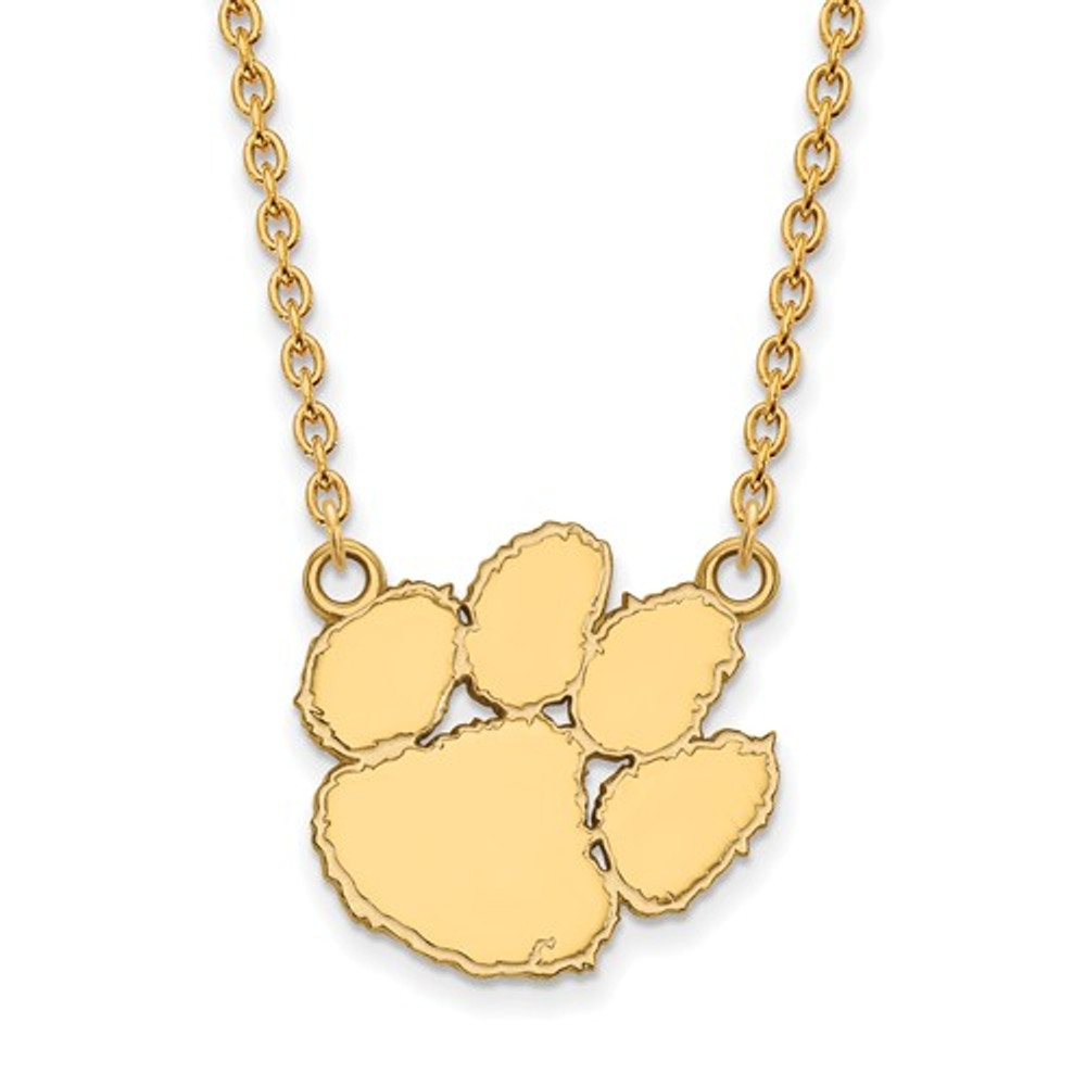 Clemson tigers 14k gold tiger paw pendant necklace clemson tigers 14k gold tiger paw pendant necklace logo art 4y016cu 18 mozeypictures Image collections