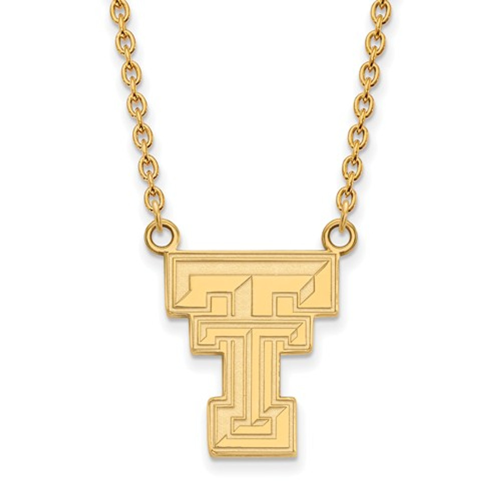 Texas Tech Jewelry Diamontrigue Jewelry: Texas Tech Red Raiders 14K Gold TT Pendant Necklace