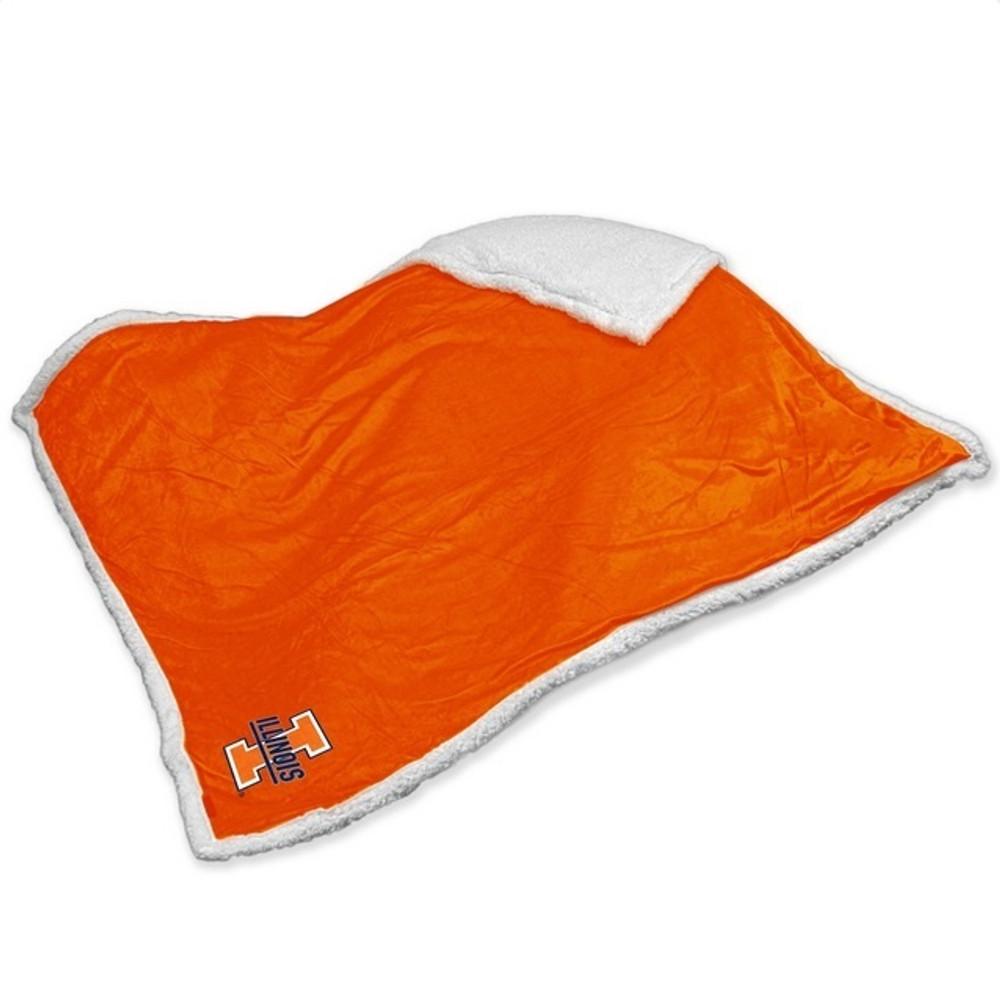 Illinois Fighting Illini Embroidered Sherpa Throw Blanket | Logo Chair | 151-24