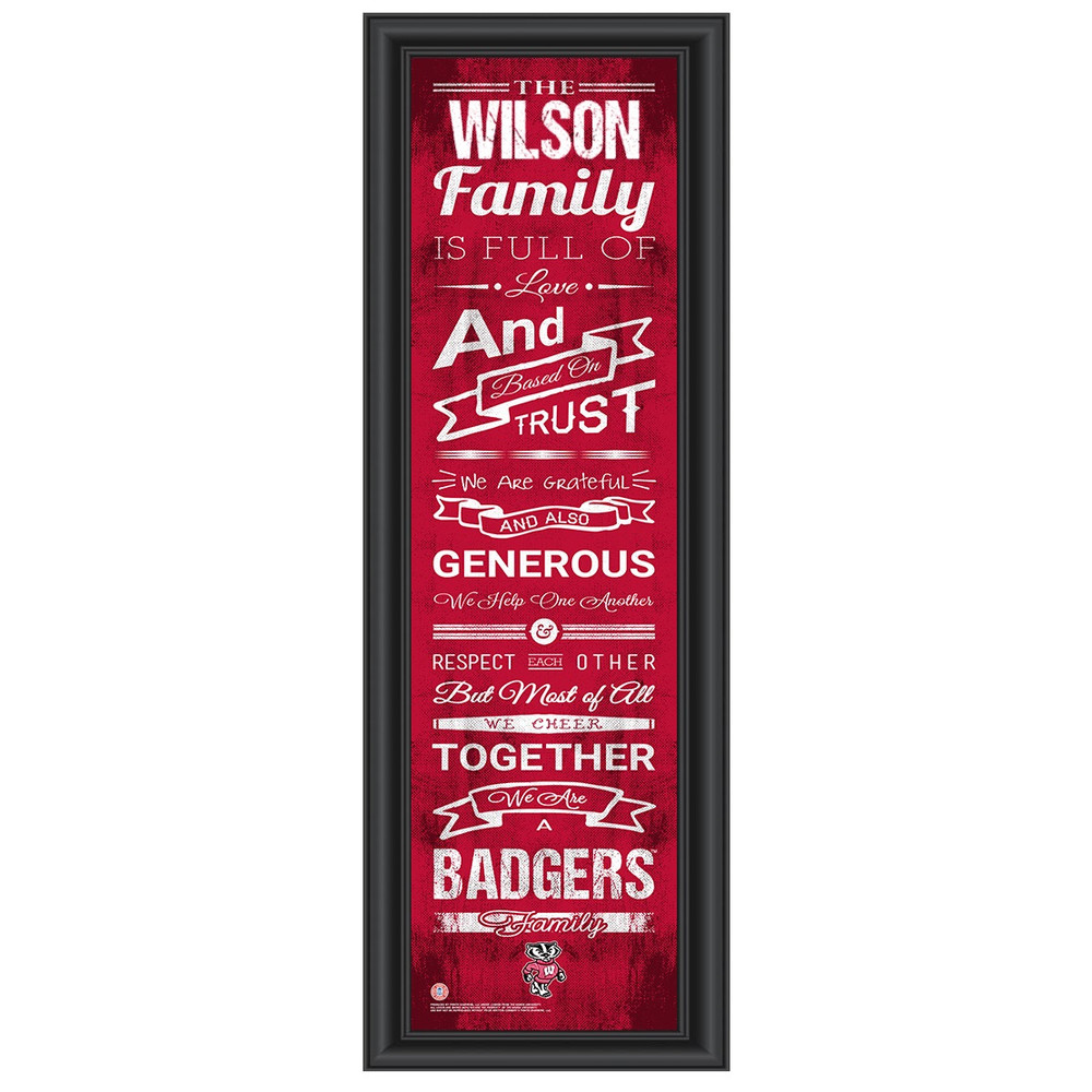 Wisconsin Badgers Personalized Family Cheer Print | Get Letter Art | WISFAM