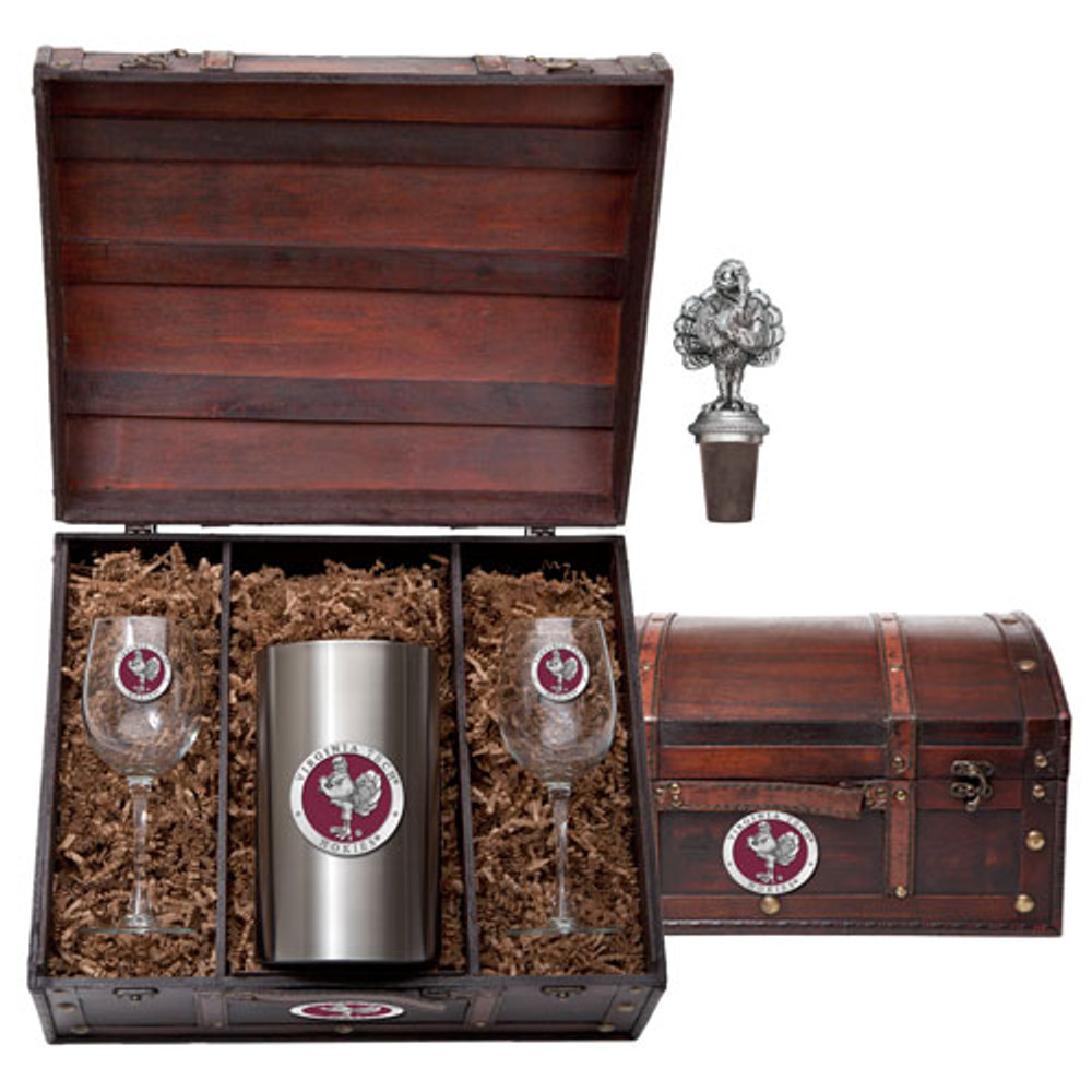 Virginia Tech Hokies Wine Chest Set | Heritage Pewter | WSC10162ER