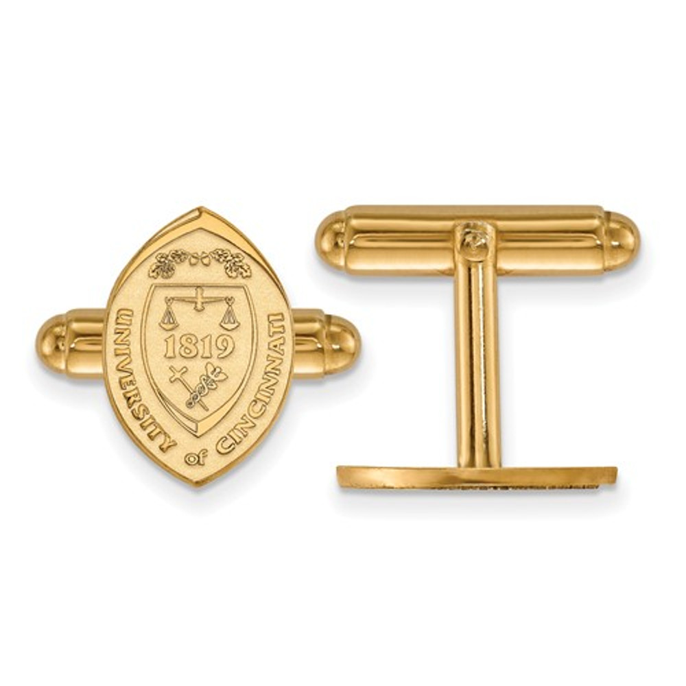 University of Cincinnati Sterling Silver Gold Plated Crest Cuff Links | Logo Art |GP043UC
