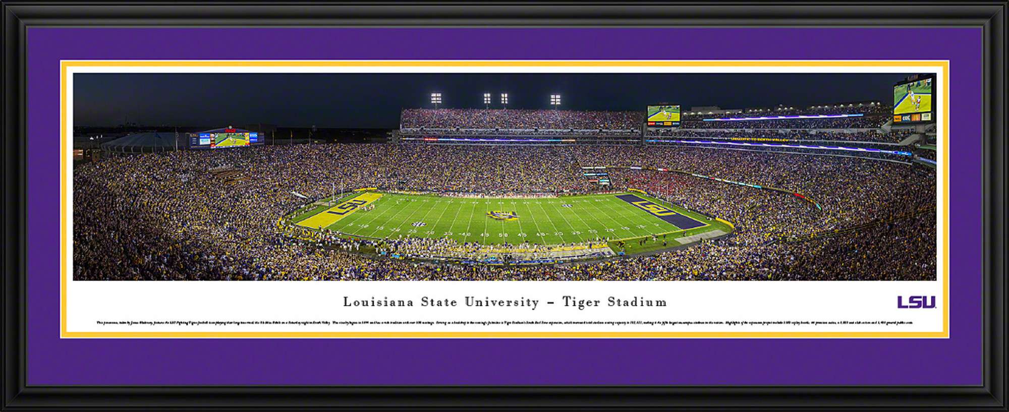 LSU Tigers Panoramic Photo Deluxe Matted Frame - 50 Yard Line