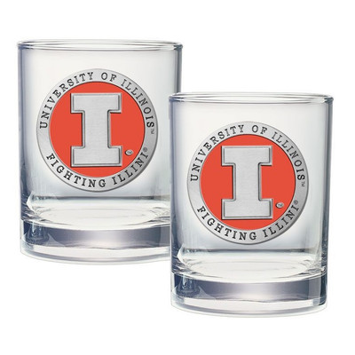Illinois Fighting Illini Cocktail Glasses | Heritage Pewter | DOF10269EO