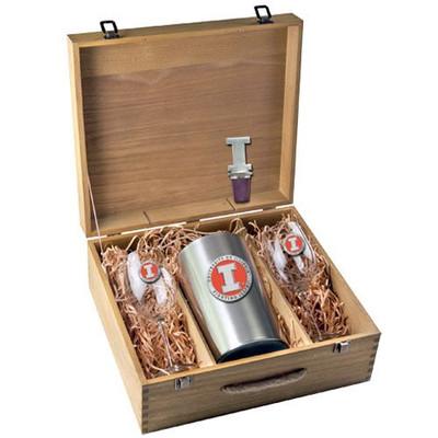 Illinois Fighting Illini Wine Set | Heritage Pewter | WSB10269EO