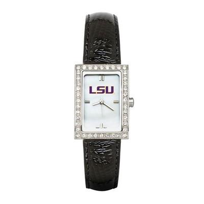 LSU Tigers Women's Allure Black Leather Strap Watch