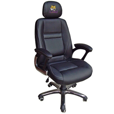 LSU Tigers Leather Office Chair | Wild Sports | 901C-LSU