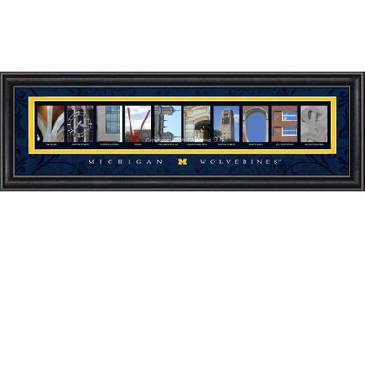 Michigan Wolverines Campus Campus Letter Art Print