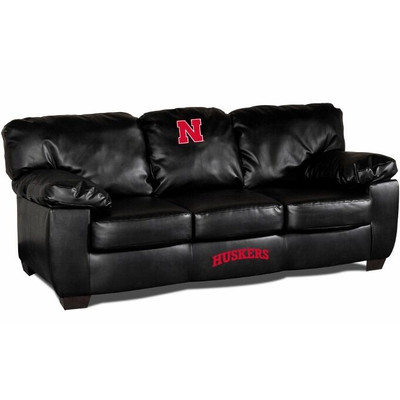 Nebraska Huskers Black Leather Classic Sofa