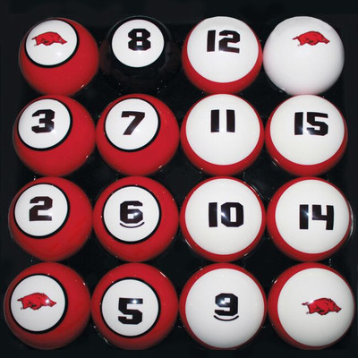 Arkansas Razorbacks Billiard Pool Ball Set