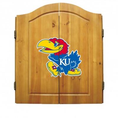 Kansas Jayhawks Dart Board Cabinet