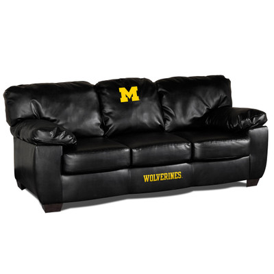 Michigan Wolverines Black Leather Classic Sofa