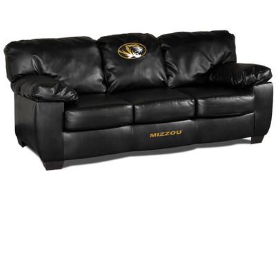 Missouri Tigers Black Leather Classic Sofa