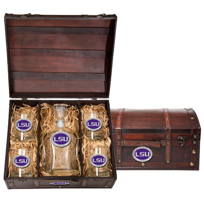 LSU Tigers Capitol Decanter Chest Set