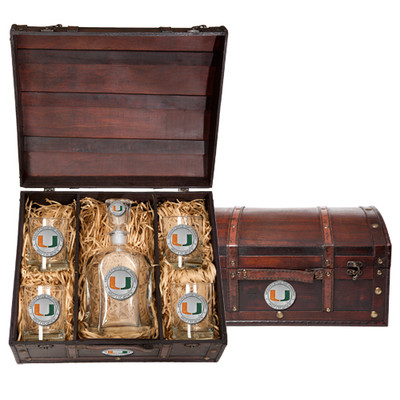 Miami Hurricanes Capitol Decanter Chest Set