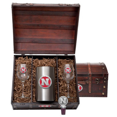 Nebraska Huskers Wine Chest Set
