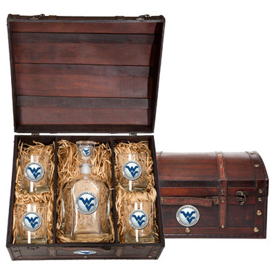 West Virginia Mountaineers Capitol Decanter Chest Set