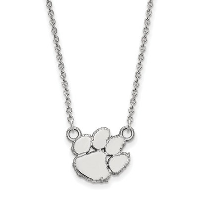 Clemson Tiger Paw Sterling Silver Pendant Necklace