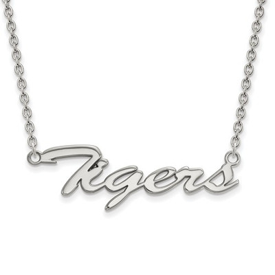 LSU Tigers Script Logo Sterling Silver Necklace