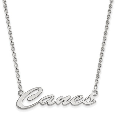 Miami Hurricanes Canes Sterling Silver Necklace